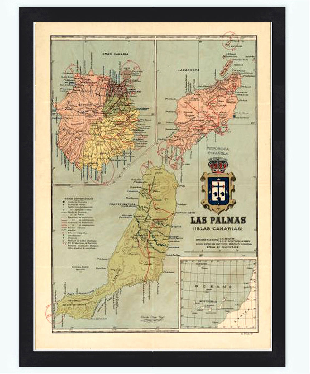 Old Map Las Palmas Canary Islands 1900 Vintage Map - product images  of