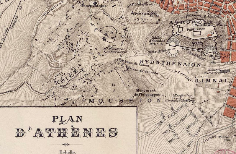 Old Map of Athens Greece 1880 - product image