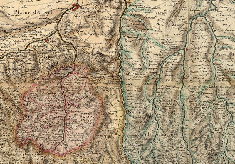 Old Map of Pyrenees Pirineus 1730 France Spain - product image