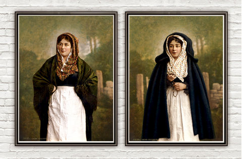 Vintage,Photo,of,Irish,colleen,Ireland,1895,irish decor, irish colleen, collen, irish art, vintage photo, ireland retro, antique ireland, vintage poster, ireland wall decor