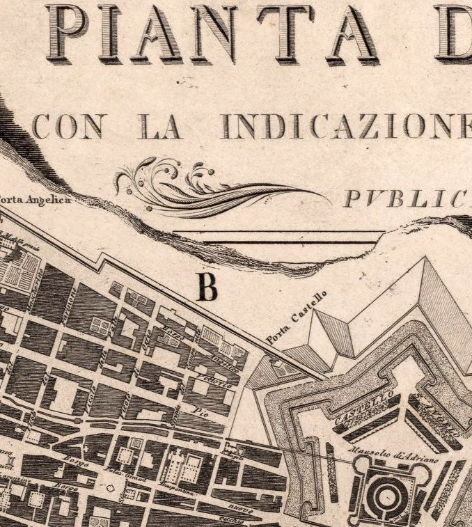 Old Map City Plan of Rome Roma, Italia 1843 Antique Vintage Italy - product image