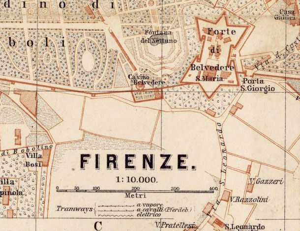 Old Map of Florence Firenze, City Plan  Italia 1900 - product image
