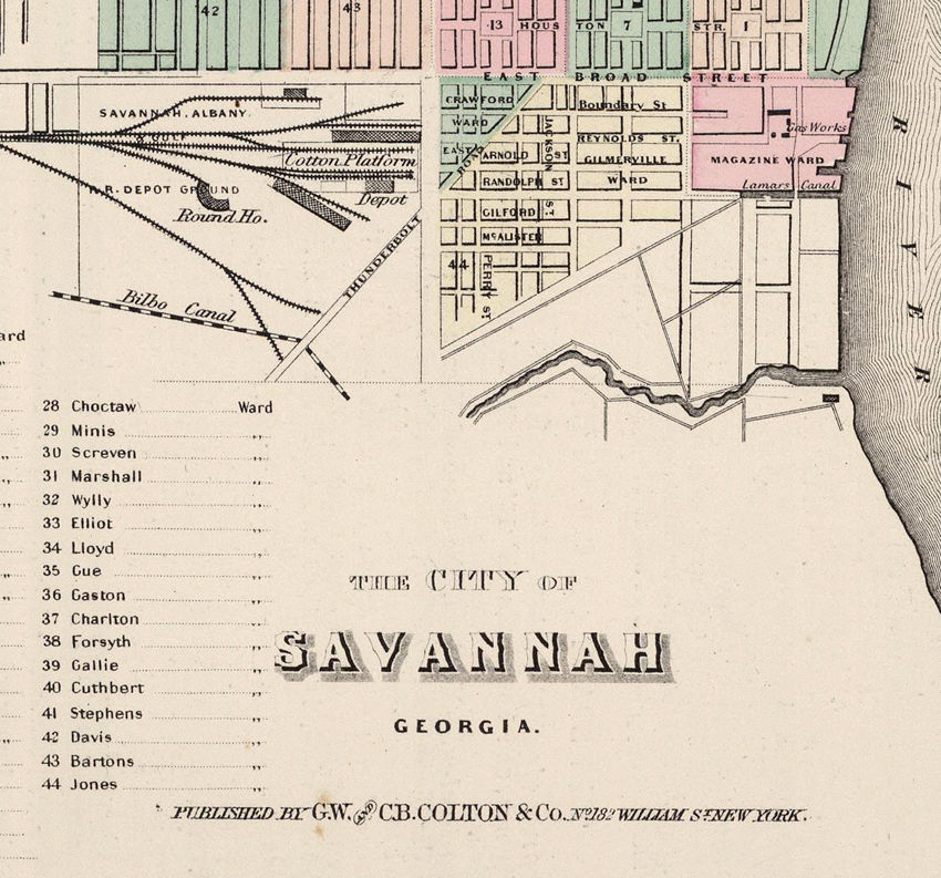 Vintage map of Savannah and Charleston GA Georgia 1886 - product images  of