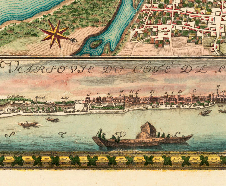 Old Map of Warsaw 1772 with gravures, Poland - product image