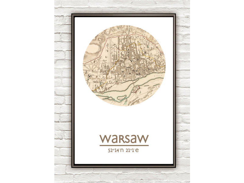 WARSAW - city poster - city map poster print - product image