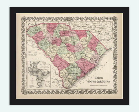 Old,Map,South,Carolina,State,1860,south carolina, south carolina map, map of south carolina, south carolina poster, old maps, antique map, old maps for sale