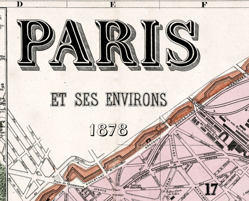 Old Map of Paris, France 1878 - product image