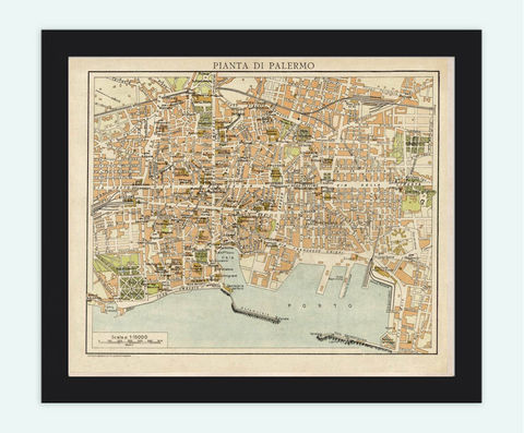 Old,Map,of,Palermo,,Italy,1930,Art,Reproduction,Open_Edition,city_map,retro,antique,Europe,italy,italia,vintage_map,city_plan,old_map,palermo map, palermo italia, palermo italy, palermo poster