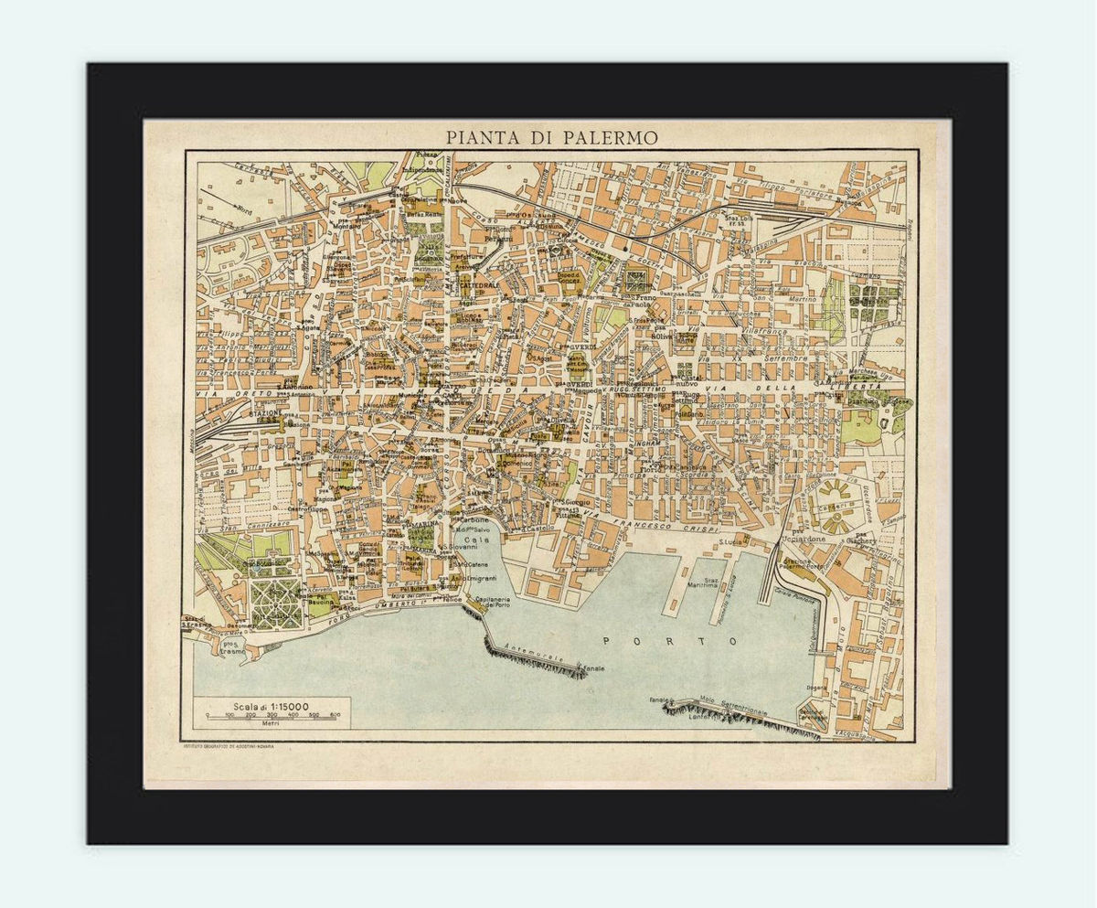 Old Map of Palermo Italy 1930 Vintage Map - product images  of