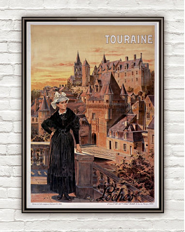 Vintage,Poster,Loches,Touraine,France,,,1906,loches, loches poster, loches france, touraine, tourisme poster,  advertise poster, ,Art,Reproduction,Open_Edition,vintage_poster,retro_poster,travel_poster,touristic_poster