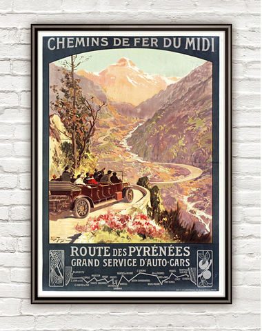 Vintage,Poster,of,Route,des,Pyrénées,1900,Tourism,poster,travel,Art,Reproduction,Open_Edition,vintage_poster,travel_poster,alpes_poster,paris,lion,nice,france_decor,france_tourism,travel_france,car_travel,pyrenees_tour,retro_poster, Route des Pyrénées, Pyrénées
