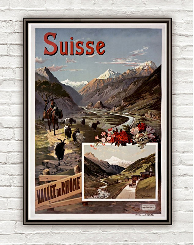 Vintage Poster of Switzerland Rhone Suisse, 1897 - product image