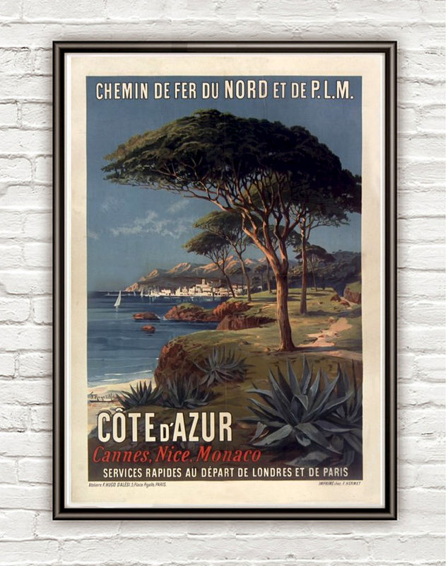 Vintage Poster of Cote d´Azur 1895 Tourism poster travel - product images