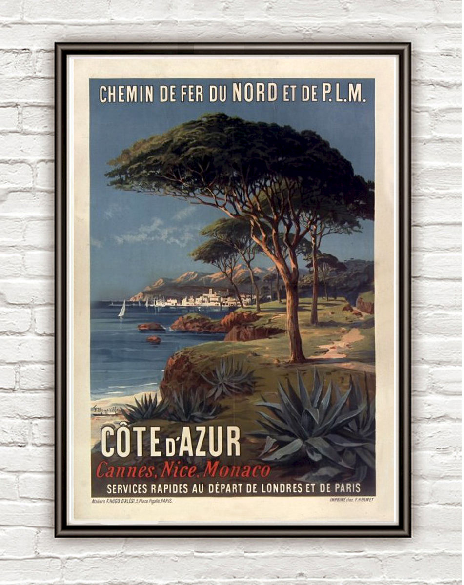 Vintage Poster of Cote d´Azur 1895 Tourism poster travel - product image