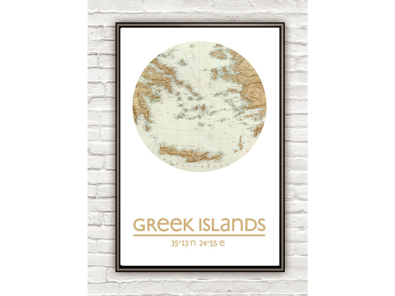 GREEK ISLANDS - city poster - city map poster print - product image