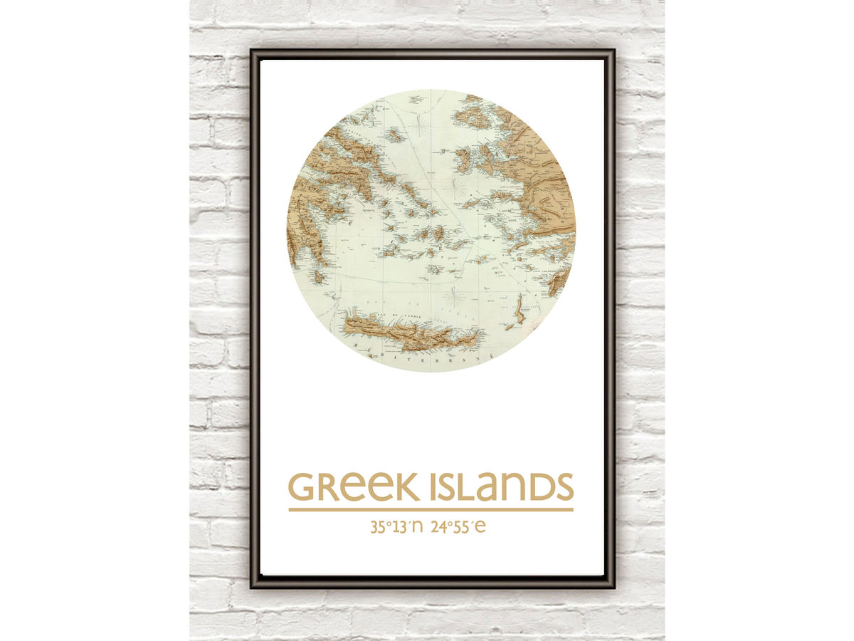 GREEK ISLANDS - city poster - city map poster print - product images  of