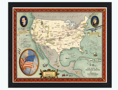Vintage,Map,of,United,States,Air,Mail,&,Passenger,Routes,1930,air mail , passenger routes, united states map, united states poster, united states of america, USA map, map of US, map of United states