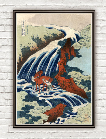 Hokusai,Yoshitsune,Umarai,waterfall,at,Yoshino,in,Washu,,1833,hokusai print, Art,Reproduction,Open_Edition,japanese,japanese_art,japa_art,japan_wall_decor,japanese_poster,art_japan,vintage_asia,japan_retro,japan_art,hokusai,great_wave