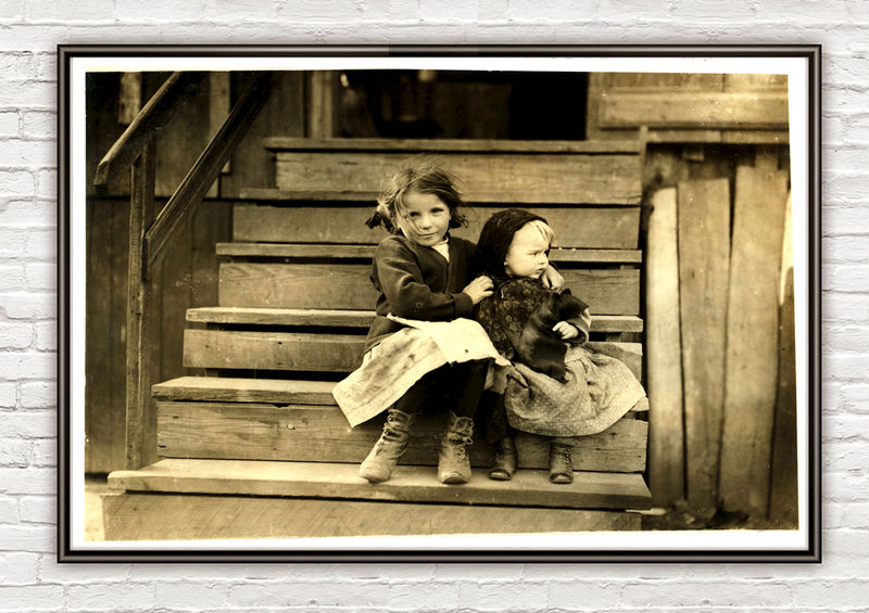 Lewis Hine Little Julia tending baby at home, Bayou La Batre, Alabama, 1911  - product images