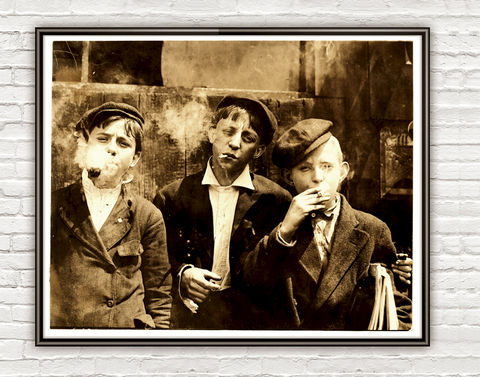 Lewis,Hine,Newsies,smoking,at,Skeeter's,Branch,,St.,Louis,,1910,Newsies smoking at Skeeter's Branch, St. Louis, vintage photo, lewis hone, photographer, boy, north carolina, antique photo