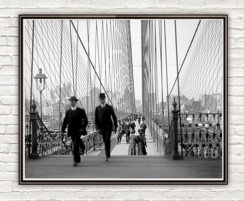 Old photo Brooklyn Bridge, New York City, 1910 - product images