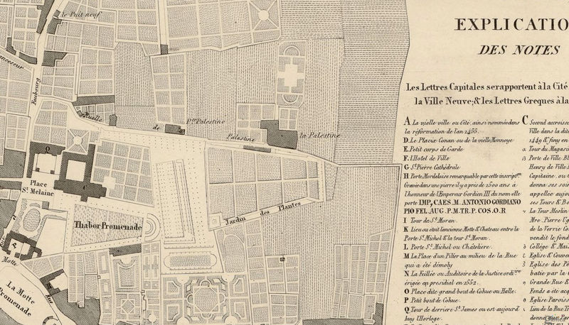 Old Map of Rennes  France 1830 - product image