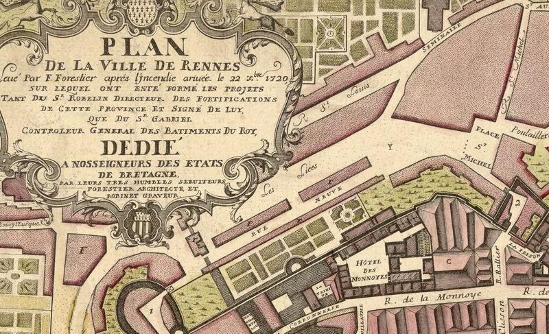 Old Map of Rennes  France 1726 - product image