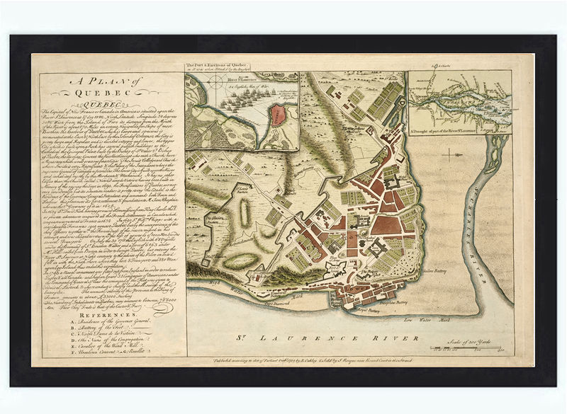 Old Map of Quebec City, Canada 1759 - product image