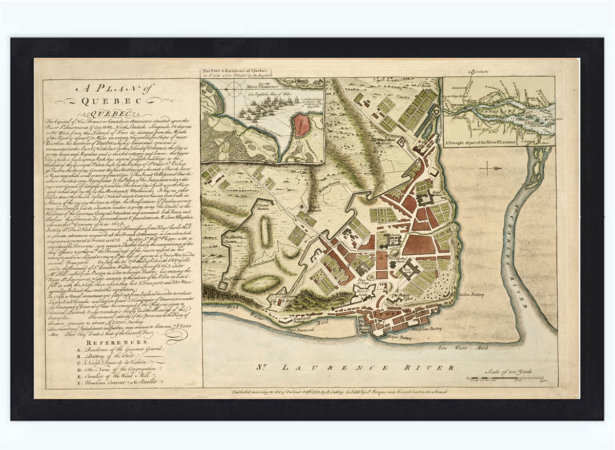 Map Of Quebec City Canada Old Map of Quebec City Canada 1759 Vintage Map   VINTAGE MAPS AND