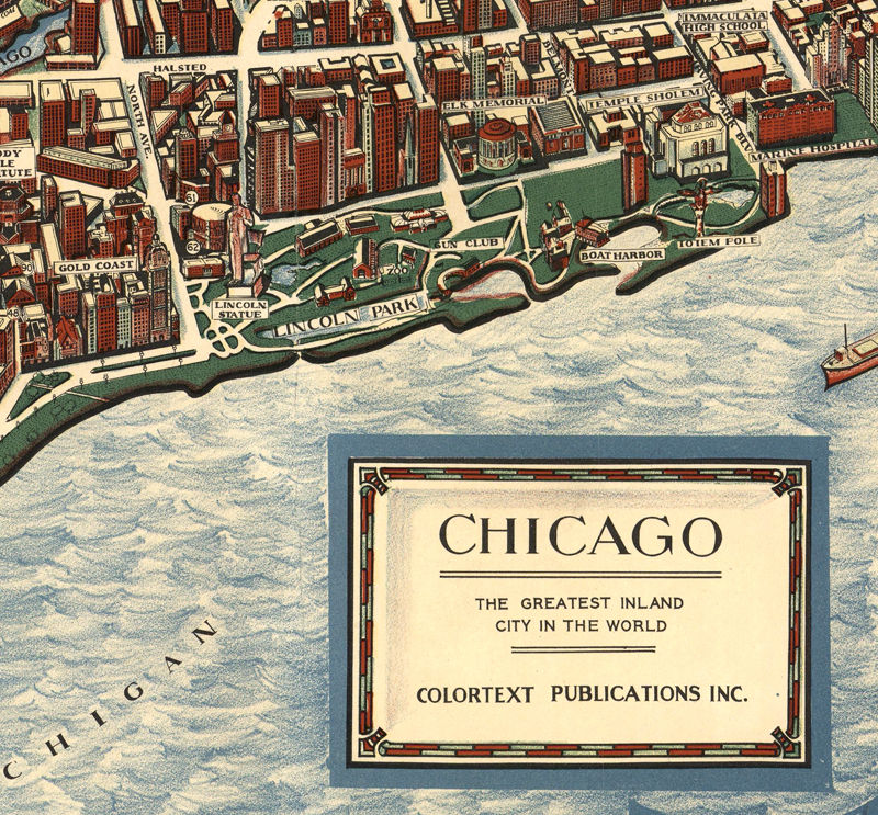Old Panoramic View of Chicago Birdseye 1938 - product image