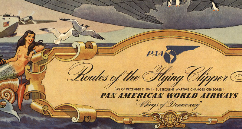 Old World Map Pan American Airlines Vintage Poster - product images  of