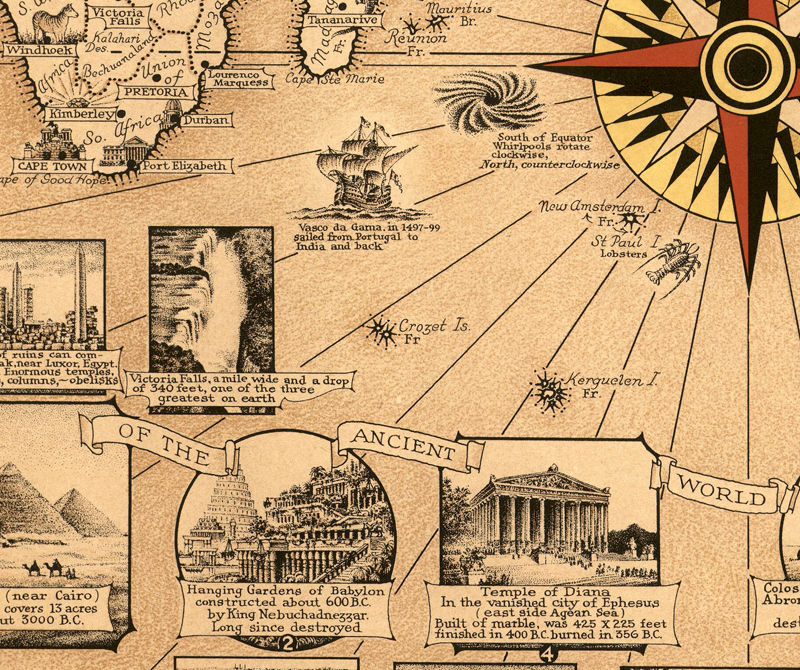 Old World Map World Wonders Vintage Poster - product image