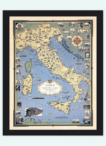 Old,Map,of,Italy,and,Vatican,City,Pictorial,vatican city, pictorial map,antique map, old map,Art,Reproduction,Open_Edition,italia, italy map, map of italy,italy,italie,mediterranean_sea,Vintage_map,vintage_poster,old_map,old_map_of_italy,antique_map_italy,map_poster