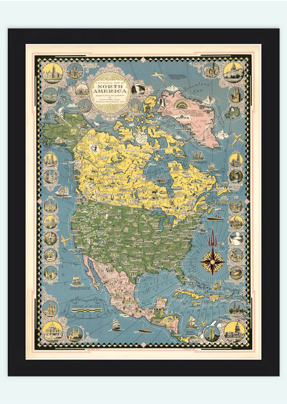 Old Map of USA Canada, North America Pictorial Map - product image