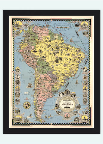 Old,Map,South,America,1942,Pictorial,Art,Reproduction,Open_Edition,old_map,atlas,south_america,america_meridional,brasil,argentina,chile,venezuela,panama,peru,vintage_map,brasil_map,south_america_map, map of south america, old map, vintage map