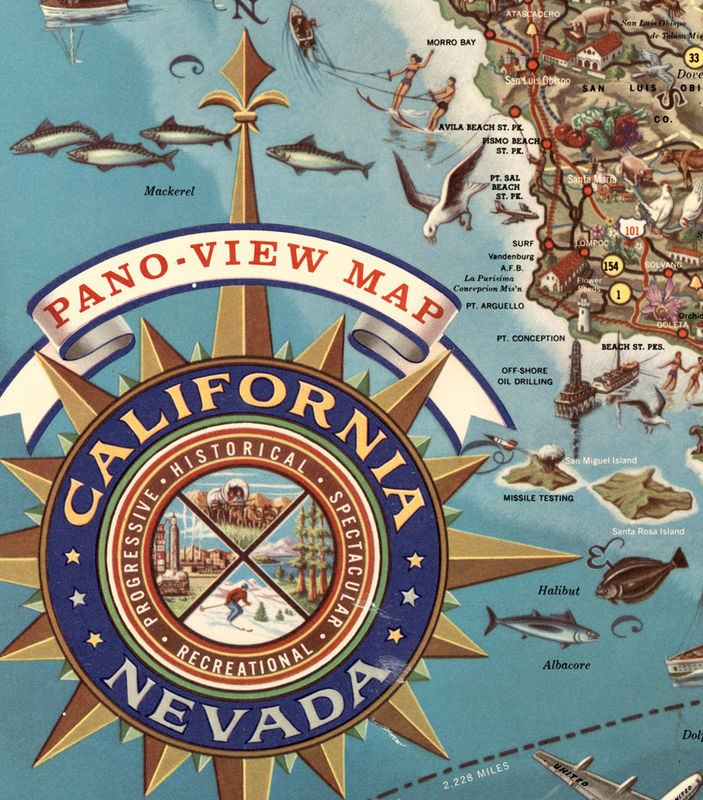 Vintage Map of California and Nevada Pictorial Map - product image