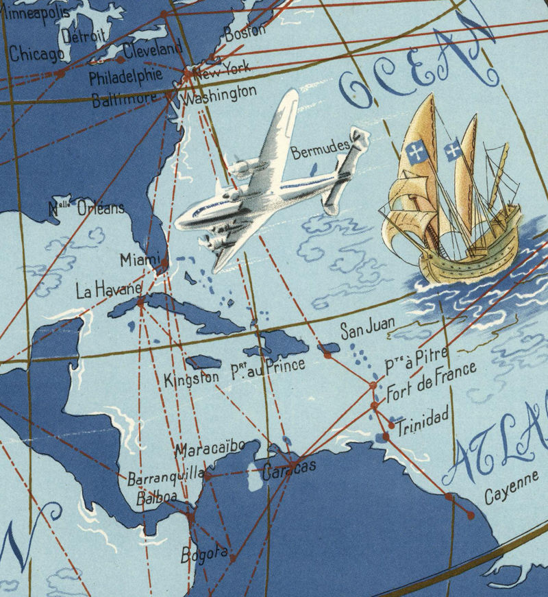 Old World Map Air France  1952 Poster - product images  of