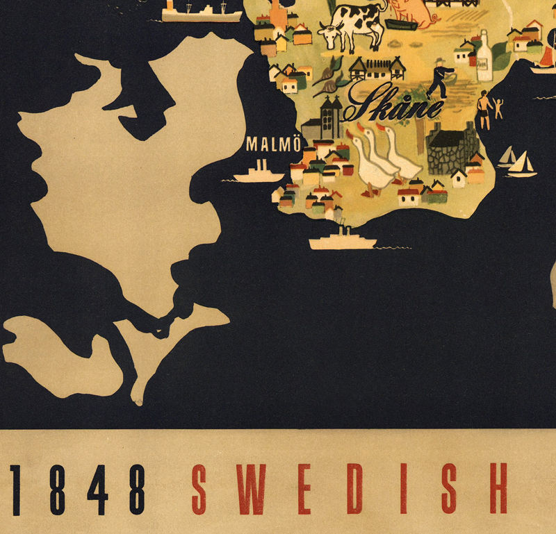 Old Map of  Sweden pionner centennial vintage poster - product images  of