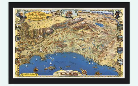 Vintage,Map,of,Golden,Coast,Southern,California,Pictorial,Golden Coast Map, Southern California, Art,Reproduction,Open_Edition,vintage,plan,United_States,antique,vintage_california,old_california_map,map_of_california,retro_california,golden coast_poster