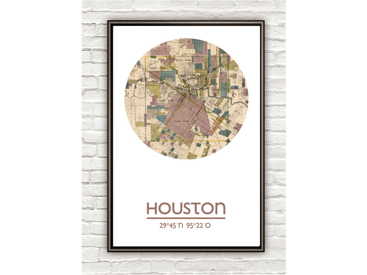 HOUSTON- city poster - city map poster print - product images  of