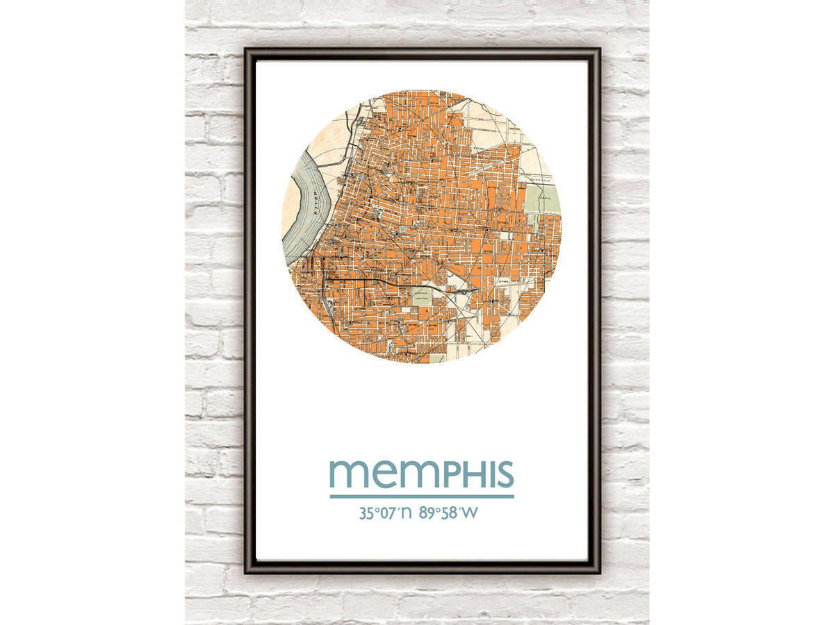MEMPHIS - city poster - city map poster print - product images  of