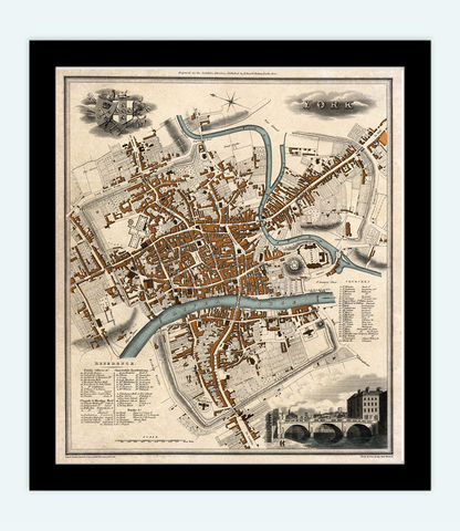 Old,Map,of,York,England,1822,Vintage,Art,Reproduction,Open_Edition, York uk, York map, map of York, york poster, map, old map, maps and prints, map reproductions, maps for sale