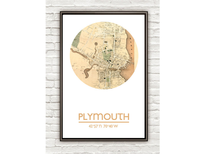 PLYMOUTH MA - city poster - city map poster print - product image