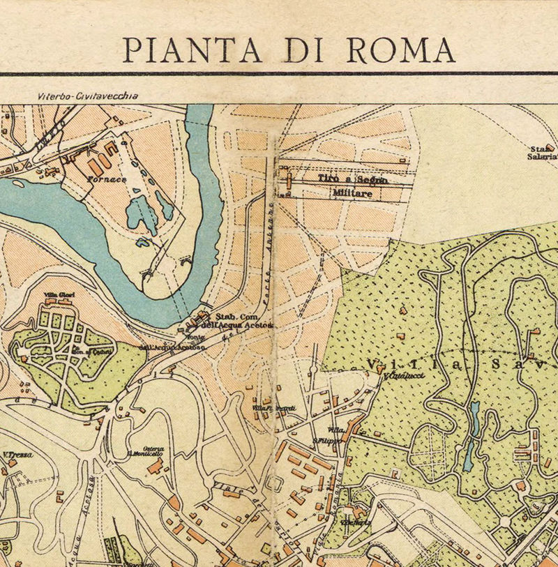 Vintage Map of Rome Roma, Italia 1930 Antique map of Rome - product images  of