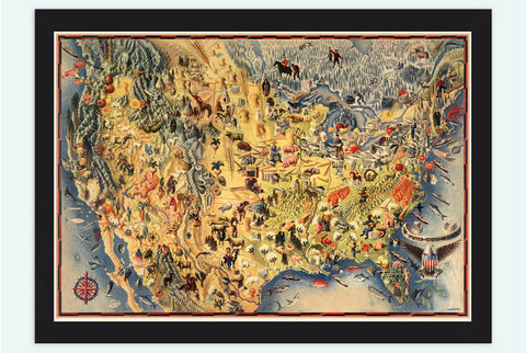 Old,Map,of,United,States,Pictorial,map,1942,Vintage,united states map, united states poster, united states of america, USA map, map of US, map of United states