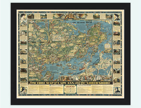 Old,Map,of,Cape,Ann,and,the,North,Shore,1934,Vintage,map of cape ann, cape ann map, vintage cape ann, cape ann poster, old maps for sale, maps reproductions
