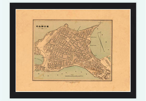 Old,Map,of,Cadiz,Spain,1800,Vintage,cadiz, cadiz, map, gravure, old map, old map of cadiz, cadiz spain