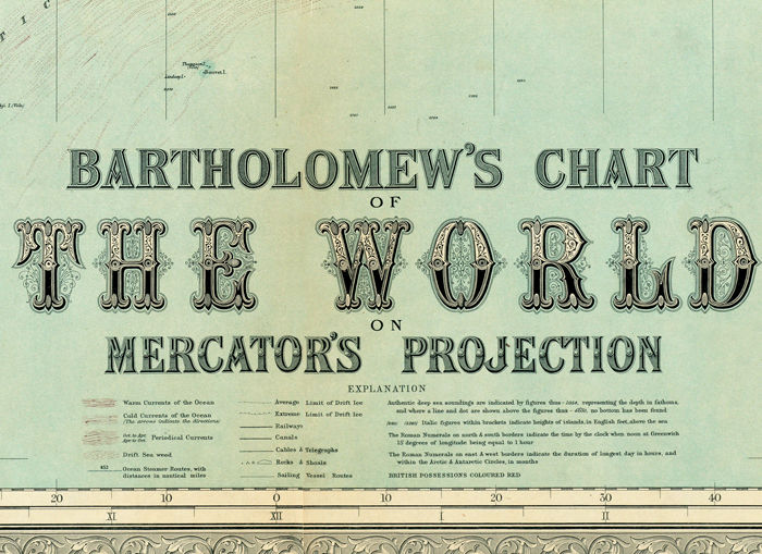 Beautiful World Map Vintage Atlas 1914 Mercator projection - product image
