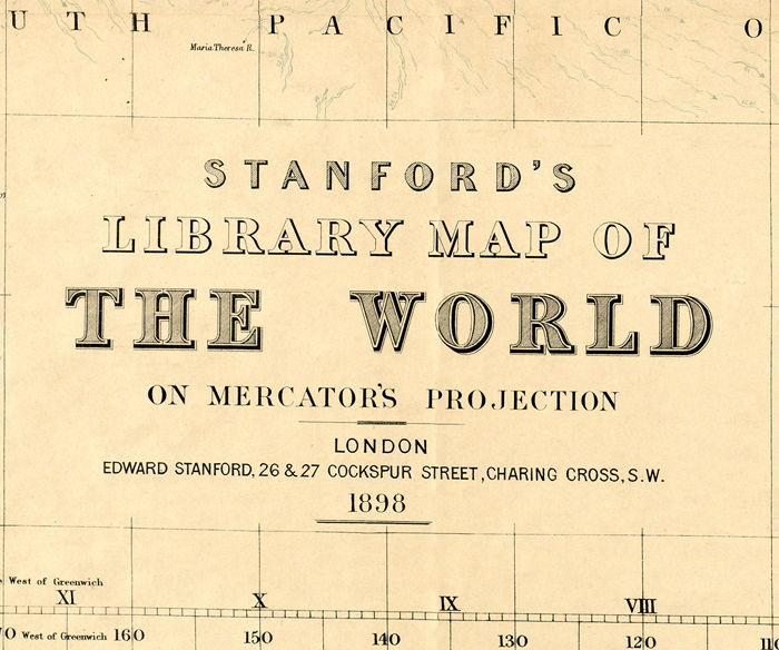 Beautiful World Map Vintage Atlas 1898 Mercator projection - product image