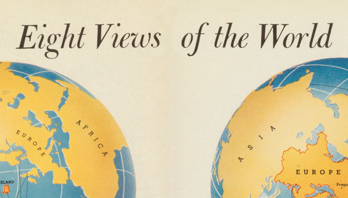 Vintage World Map in Eight Views 1944 - product image